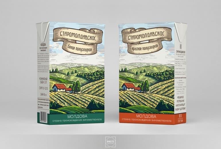 Дизайн упаковки для вина Старомолдавское